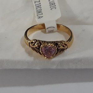 Ring Cz Pink Sapphire My Loving Heart